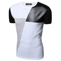 Wholesale Leather Splice Short Sleeve - M-XXL PU Leather T Shirt Men High Quality Splice short Sleeve T-Shirt Fashion Cotton Casual O-Neck hip hop Mens Tops Tee