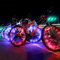 Wholesale Wire Wheels Wholesale - 20 LED Colorful Bicycle Wheel LED Flash Light Bike Cycling Wheel Spoke Led Lamps 2m Copper Wire String Light Bike Wheel Valve Cap Lights
