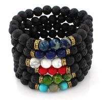charme rock armbänder großhandel-Lava Rock Beads Charms Armbänder eingefärbt Perlen Männer Frauen Naturstein Strands Armband für Modeschmuck Handwerk R016
