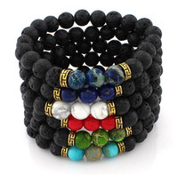 Wholesale Stone Craft Jewelry - Lava Rock Beads Charms Bracelets colorized Beads Men's Women's Natural stone Strands Bracelet For Fashion Jewelry Crafts R016