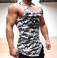 Wholesale Wholesale Spandex Cotton T Shirts - Wholesale- Cotton Designed Men's Tank Top Fitness Stringer Vest Casual T shirts Sleeveless Undershirts Man Singlets