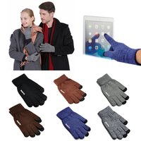 Wholesale Men Wearing Slips - Womens Touch Screen Gloves Wear Anti-slip Knitted Full-finger Men Mittens Driving Glove for Men Women Winter Warm Gloves High Quality