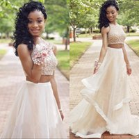 Wholesale Yellow Acrylic Jewels - Modest Champagne Beading Two Piece Prom Dresses Long 2017 Sequined Tried Skirt 2 Piece Prom Dress Formal Evening Party Gowns