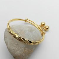 Wholesale gold filled kids bracelet resale online - Kids Jewelry K Gold Plated Meteor Embossing Adjustable Bells Bangles Bracelets for Baby Toddler Girls Hot Gift