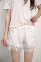 Wholesale Silk Safety Pants - European and American free shipping new fashion Leggings loose eyelash lace pants safety anti female summer shorts three small drawers