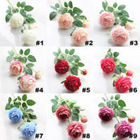 Wholesale Peony Gifts - 2017 Artificial Flowers Roses Peony Three Flower Heads Garden Wedding Party Decoration Simulation Fake Flower Head Christmas Gift HH7-153