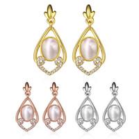 Wholesale Large Opal Earrings - Fashion earrings for women Elegant water droplets hollow cat eye earrings large rose gold wedding teardrop earrings for Christmas present