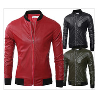Wholesale Locomotive Jackets - Leather Jackets for Men Autumn Winter Stand Collar Pure Color Zipper Punk Locomotive Clothing Jackets US SIZE:XS-XL