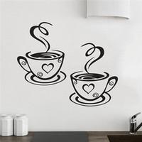 diseños de copa de vinilo al por mayor-Nueva Llegada Hermoso Diseño Tazas de Café Cafe Té Pegatinas de Pared Arte Vinilo Calcomanía Cocina Restaurante Pub Decor