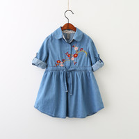 Wholesale Drawstring Dress - Everweekend Girls Floral Embroidered Ruffles Dress Cute Baby Drawstring Turn-down Collar Clothes Lovely Kids Autumn Clothing