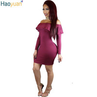 Wholesale Sexy Clothes Line - Wholesale- HAOYUAN 2017 Winter Clothes Women Vestidos Sexy Ruffle Long Sleeve Bodycon Dress Woman Club Off Shoulder Vintage Party Dresses