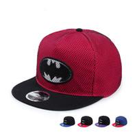 9f44429e2c3 Wholesale red batman cap online - Embroidered Batman Flat Brim Unisex Hip  hop Cap Outdoor Trend