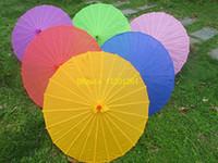 ingrosso ombrelli di seta-50 pz / lotto Spedizione gratuita Cinese colorato ombrello di carta Cina tradizionale danza parasole di colore giapponese di seta puntelli