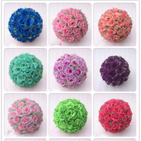 Wholesale flower balls for centerpieces - 35 cm Super Large Size White Fashion Artificial Rose Silk Flower Kissing Balls For Wedding Party Centerpieces Decorations Wedding Flower