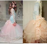 Wholesale Cotton Halter Wedding Dress - mermaid Princess Dress New Flower Girls Dress Rose Flower Ruffle Children Wedding Dresses Lace halter top Kids evening dress C853