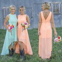 Wholesale Cheap Short Chiffon Dresses - 2017 Mint Orange High-low Cheap Bridesmaid Dresses under $70 Chiffon Maid of Honor Dresses A-Line Crew Appliques Pleated Short Party Dresses