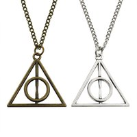 Wholesale party outlets - Vintage Harry Triangle Pendant The Deathly Hallows Geometry Resurrection Stone Necklaces Movie Jewelry Factory Outlet Wholesale