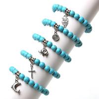Wholesale Men Owl Pendants - Wholesale- Vintage Charm Bracelet Bohemian Turquoise Bracelets & Bangles Owl Elephant Pendants Bracelets For Women Men Pulseras Jewelry