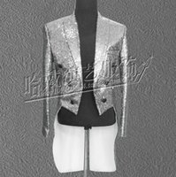 Wholesale Open Breast Clothing - Wholesale- Free shipping men singer lager size sequined tuxedo solid open stitch magician costume stage performance clothing   S-5XL
