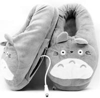 3d çizgi film ayakkabıları toptan satış-Toptan Erkekler Terlik 3D Komşum Totoro Yumuşak Peluş Terlik Cosplay Karikatür Isıtma USB Isıtıcı Terlik Kış Kapalı Ev Ayakkabı