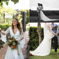 Wholesale Wedding Gown Flutter Sleeves - Dreamy Garden Wedding Dresses Sophisticated Full Lace Flutter Long Sheer Sleeves Plunging V Neck Sexy Back Bohemain Bridal Gown