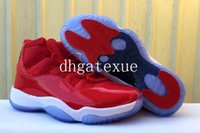Wholesale Plastic Gym - air retro 11 Gym Red Navy basketball shoes Mens Womens air retro 11 Barons basketball Shoes size 36-47 [With Box] Free Shipping