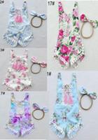 Wholesale Toddler Size Headbands - Babies romper baby girls lace tassel floral jumpsuit toddler kids cotton floral printed jumpsuit+bows headband 2pcs sets 33colors A0686