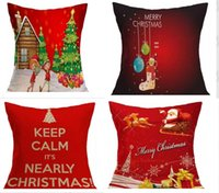 Wholesale Sofa Cushions Covers Material - 2018 NEW Christmas Pillow Case festival Decorative Pillow Cover Car Sofa Cushion Santa Claus Reindeer Xmas Gift Linen material hot MYY