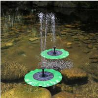 ingrosso pianta di pesce piscina-7V 1.4W Lotus Leaf galleggiante acqua pompa Pannello solare Piante da giardino Annaffiatura Fontana di alimentazione Fontana stagno fontana fontana da Birdbath