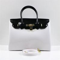 Wholesale Women Bags Glossy - New Fashion PVC Women Bags Glossy Jelly Candy Handbag 30CM Candy Color BEACHKINS Large Beach Handbag Totes