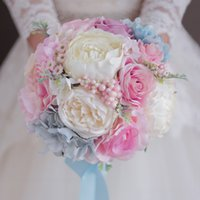 Wholesale Pink Hydrangea Wedding Bouquet - wholesale Light Pink Blue Wedding Bouquet Artificial Flower Wedding Decorations Pink Rose Blue Hydrangea Bridesmaid Bridal Bride's