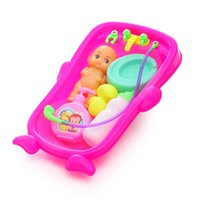 Wholesale Baby Shower Mini Dolls - 2017 HOT Baby Toys House Enlightenment Toys Simulation Baby Bathtub Take a Shower A doll Swimming Toys SDLW 12