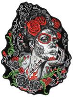 rote rosenweste großhandel-8 * 10Zoll Zucker Lady Red Roses und grün Vibes Eisen auf Patch Motorrad Biker Club MC vordere Jacke Weste Patch detaillierte Stickerei