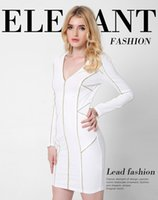 Wholesale Cheap Wear Work Dresses - Women Elegant V-Neck Dress Career Online Cheap Wear to Work Casual Fitted Sheath Bodycon Fashion Office OL Dress White Long Sleeve DRSL669