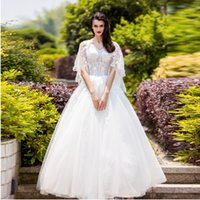 Wholesale Sweet Princess Bride Wedding Dress - SSYFashion Sweet White V-Neck Lace Butterfly Sleeves Beading Wedding Dress the Bride Princess Married Elegant Long Wedding Gown In Stock