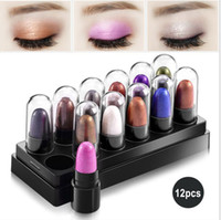 Wholesale Eyeshadow Stick Set - 12 Colors Per Set Pigmento Maquiagem Makeup Eyeshadow Stick Palette Shimmer Glitter Waterproof 2 Styles available