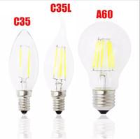 Wholesale Classic Lamp Wholesalers - Classic E27 E14 E12 Dimmable led Filament bulb 4w 8w 12w 16w High Power bulb 110V 220V Retro led Edison lamp candle lightS