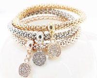Wholesale Charm Wholesale Source - 2017 new hot source round diamond three-tier three-color stretch bracelet new foreign trade jewelry