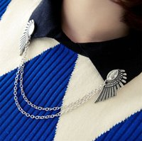 Wholesale Wings Pins - Wholesale- Vintage Wings Chain collar Pins Broches Fashion Jewelry Bronze Silver Shirt Collar Jewelry bijuterias Lapel Pin For Women CY013