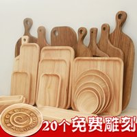 Wholesale Wooden Serving Trays for Party Hotel Home Dinner Plate Dish Tableware Rubber Wooden Tray for Snacks Fruit Milk Round Suqare