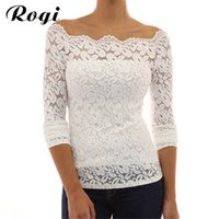 Wholesale Off Shoulder Shirt Lace - x20179 Rogi Women Blouses 2017 Sexy Fashion Off Shoulder Lace Crochet Tunic Shirt Top Long Sleeve Casual Tops Blusas Camisas Plus Size