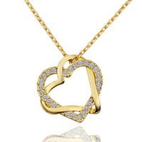 18 k beyaz altın 18 zincir toptan satış-Ücretsiz kargo Kalp beyaz kristal 18 K altın Kolye kadınlar için, Marka yeni sarı altın mücevher kolye Kolye zincirleri SGN586 dahil