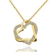 colgantes de oro blanco joya al por mayor-Envío gratis Heart white crystal 18 K collares de oro para las mujeres, nuevo oro amarillo gema colgante collares incluyen cadenas SGN586