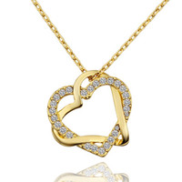 Wholesale gold white gem pendants for sale - Group buy Heart white crystal K gold Necklaces for women Brand new yellow gold gem pendant Necklaces include chains SGN586