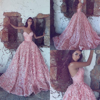 Wholesale Sweetheart Princess Prom Dresses - 2018 New Luxury Pink Sweetheart Ball Gown Princess Evening Dresses Ball Gowns Sleeveless Lace Appliques Prom Dresses Long Sweep Train