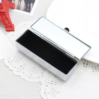 Wholesale Lip Stick Cases - Blank Metal Lip stick Box Cosmetic Organizer pill Cases Holder Inside with Mirror Gift Fast Shipping F20172396