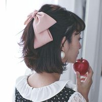 Wholesale Wholesale Fabrics Silk Red - Quality Big Large Beautiful Girls' Silk Bow Barrette Hair Clips Women Hair Accessories