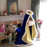 Wholesale coat dress red wool - 2017 costumed Bridal Capes royal blue Wedding Jacket Faux Fur Perfect For Winter Wedding Dress Swing Coat Cheap