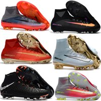 Wholesale Cheap White Shoes Gold Spikes - 2017 Football Boots Neymar JR Cheap Magista Obra 2 Mercurial Superfly CR7 FG Soccer Cleats High Top Soccer Shoes New Cristiano Ronaldo