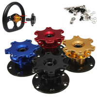 Wholesale Quick Release Steering Hubs - 70mm Car Steering Wheel Quick Release Hub 6 Holes Racing Adapter Snap off Boss Kit 4 Optional Colors AUP_527
